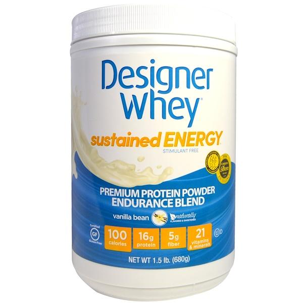 Designer Protein, Designer Whey, Premium Protein Powder, Endurance Blend, Vanilla Bean, 1.5 lbs (680 g) (Discontinued Item)
