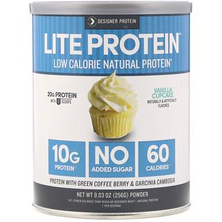 Designer Protein, بروتين خفيف، بروتين طبيعي منخفض السعرات الحرارية، كاب كيك الفانيلا، 9.03 أوقية (256 غ)
