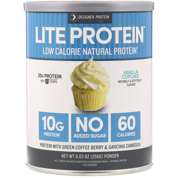Designer Protein, Lite Protein, Low Calorie Natural Protein, Vanilla Cupcake, 9.03 oz (256 g) (Discontinued Item)