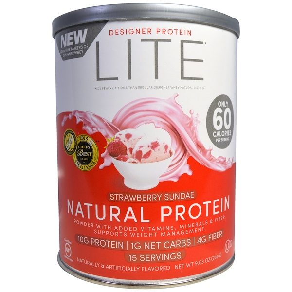 Designer Protein, Lite, Natural Protein, Strawberry Sundae, 9.03 oz (256 g) (Discontinued Item)