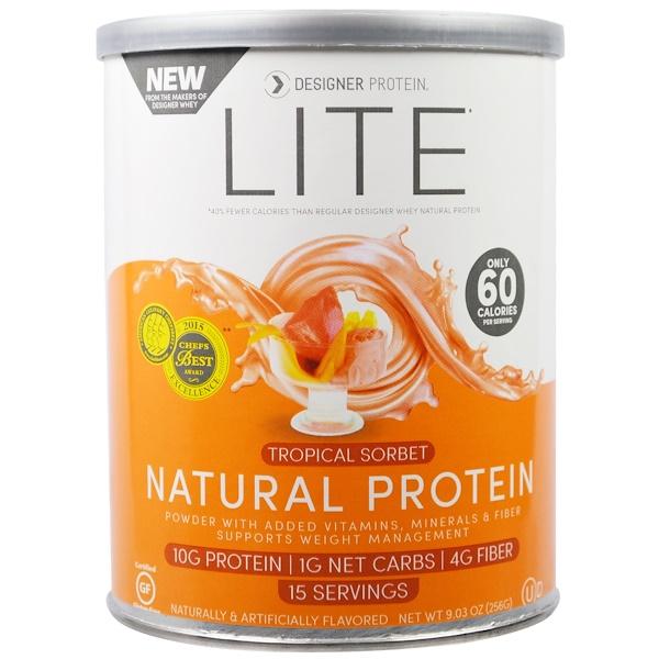 Designer Protein, Lite, Natural Protein, Tropical Sorbet, 9.03 oz (256 g) (Discontinued Item)