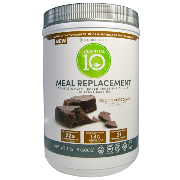 Designer Protein, Essential 10, Meal Replacement, Protein-Rich Meal, Belgian Chocolate, 1.32 lbs (600 g) (Discontinued Item)