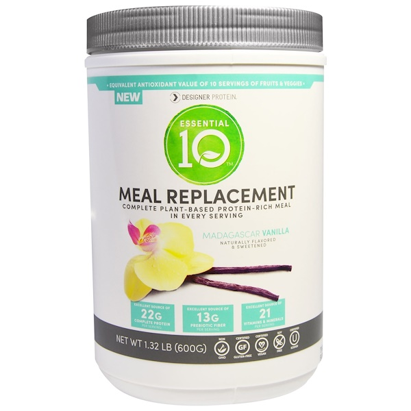Designer Protein, Essential 10, Meal Replacement, Madagascar Vanilla, 1.32 lbs (600 g) (Discontinued Item)