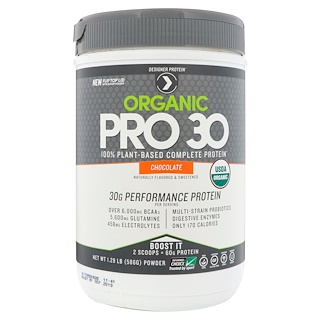 Designer Protein, Organic Pro 30, 100% Plant-Based Complete Protein, Chocolate, 1.29 lbs (586 g)