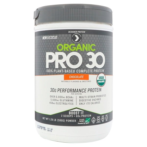 Designer Protein, Organic Pro 30, 100% Plant-Based Complete Protein, Chocolate, 1.29 lbs (586 g) (Discontinued Item)