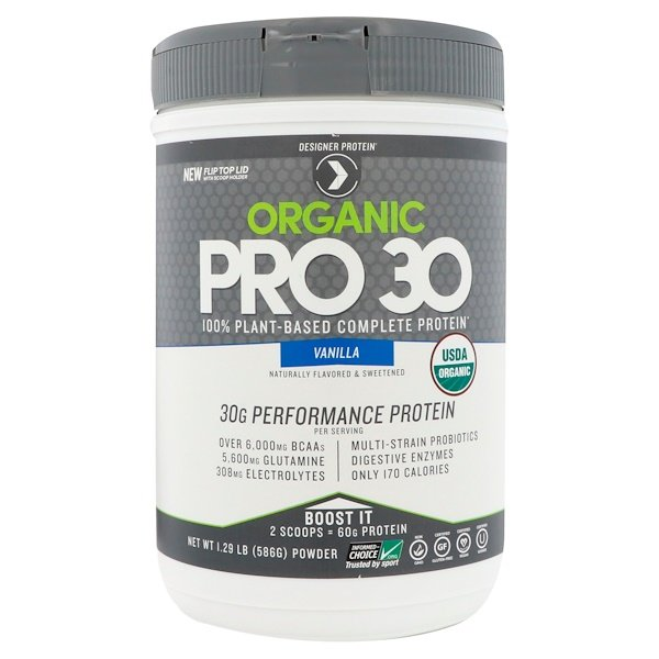 Designer Protein, Organic Pro 30, 100% Plant-Based Complete Protein, Vanilla, 1.29 lbs (586 g) (Discontinued Item)