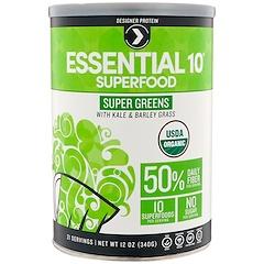 Designer Protein, エッセンシャル10スーパーフード、スーパーグリーン、12 oz (340 g)