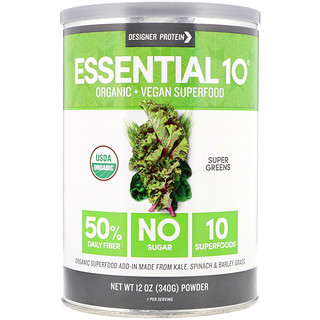 Designer Protein, Essential 10 Superfood, Super Greens, Powder, 12 oz (340 g)