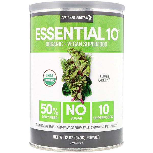 Designer Protein, Essential 10 Superfood، أعشاب فائقة، 12 أونصة (340 غرام) (Discontinued Item)