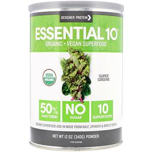 Дизайнер протеин, Essential 10 Superfood, Super Greens, Powder, 12 oz (340 g) отзывы покупателей