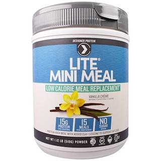 Designer Protein, Lite Mini Meal Low Calorie Meal Replacement Powder, Vanilla Creme , 1.12 lb (510 g)