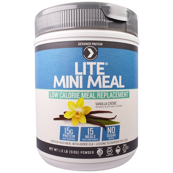 Designer Protein, Lite Mini Meal Low Calorie Meal Replacement Powder, Vanilla Creme , 1.12 lb (510 g) (Discontinued Item)