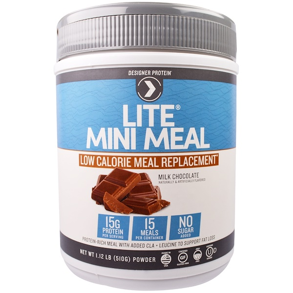 Designer Protein, Lite, Mini Meal Low Calorie Meal Replacement Powder, Milk Chocolate, 1.12 lb (510 g) (Discontinued Item)