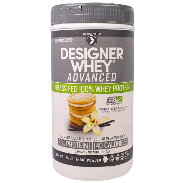 Designer Protein, Designer Whey Advanced, Grass Fed 100% Whey Protein, Vanilla Cookies & Cream, 1.85 lb (840 g) (Discontinued Item)
