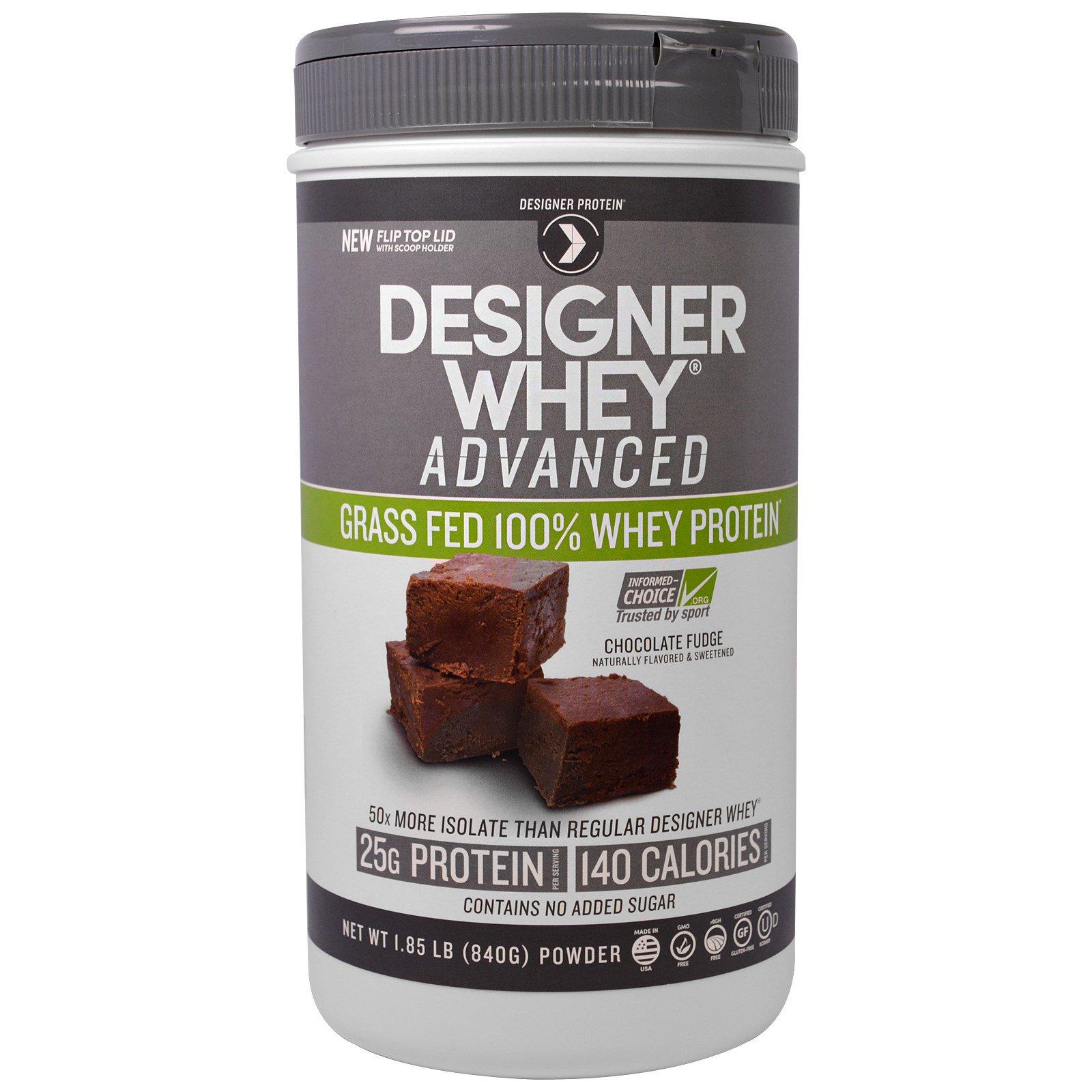 """Designer Protein, """"Дизайнерская сыворотка"""", улучшенный 100% сывороточный белок из молока коров, выкормленных на траве, со вкусом шоколадных помадок, 1,85 фунта (840 г)"""