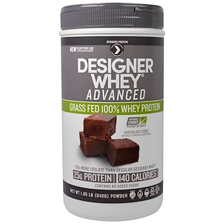 Designer Protein, Designer Whey Advanced, Grass Fed 100% Whey Protein, Chocolate Fudge, 1.85 lb (840 g)