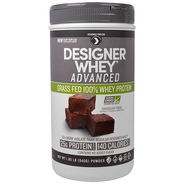 Designer Protein, Designer Whey Advanced, Proteína de Soro de Leite - 100% Alimentado com Grama, Fudge de Chocolate, 1,85 lb (840 g) (Discontinued Item)
