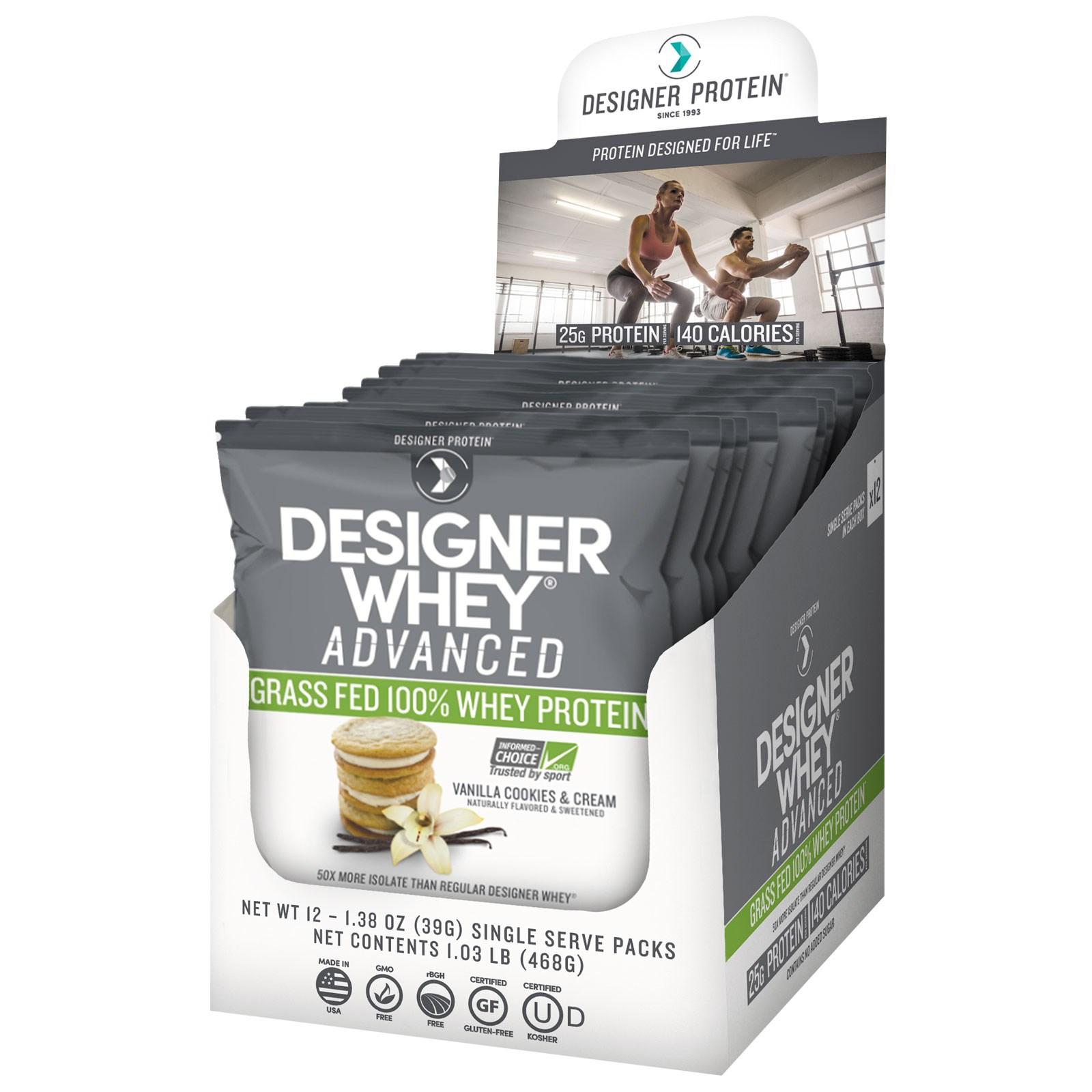 """Designer Protein, """"Дизайнерская сыворотка"""", улучшенный 100% сывороточный белок из молока коров, выкормленных на траве, со вкусом ванильного печенья с кремом, 12 пакетов по 1,38 унции (39 г)"""