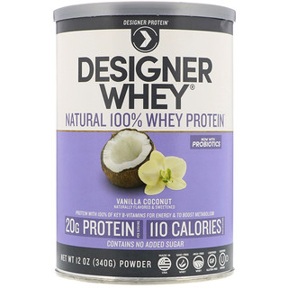 Designer Protein, Designer Whey، بروتين مصل الحليب الطبيعي 100%، جوز الهند بالفانيليا، 12 أوقية (340 جم)