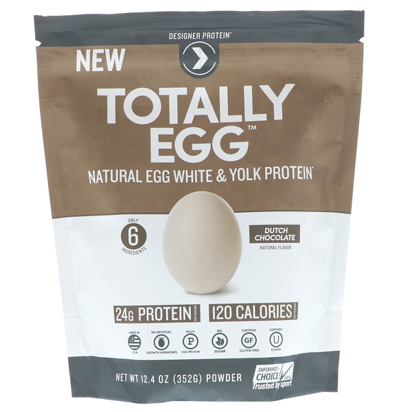 Designer Protein, Totally Egg, Natural Egg White & Yolk Protein, Dutch Chocolate, 12.4 oz (352 g) (Discontinued Item)