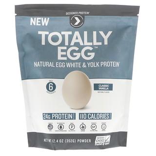 Designer Protein, بيض بالكامل، بروتين من بياض وصفار البيض الطبيعي، فانيلا كلاسيكية، 12.4 أوقية (532 غرام)
