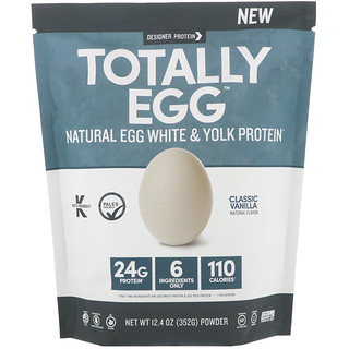Designer Protein, Totally Egg, Natural Egg White & Yolk Protein, Classic Vanilla, 12.4 oz (352 g)