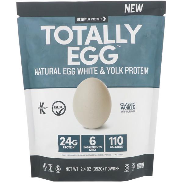 Designer Protein, Totally Egg, Натуральный яичный и желточный белок, Классическая ваниль, 12,4 унц. (352 г) (Discontinued Item)