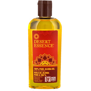 Desert Essence, 100% Pure Jojoba Oil, For Hair, Skin and Scalp, 4 fl oz (118 ml)