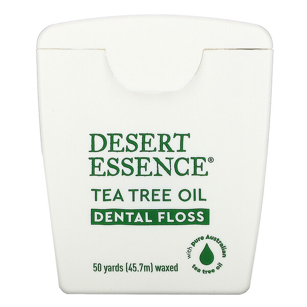 Desert Essence, ティーツリーオイルデンタルフロス、ワックスタイプ、45.7m(50Yds)