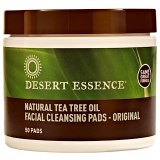 Desert Essence, Natural Tea Tree Oil Facial Cleansing Pads, Original, 50 Pads