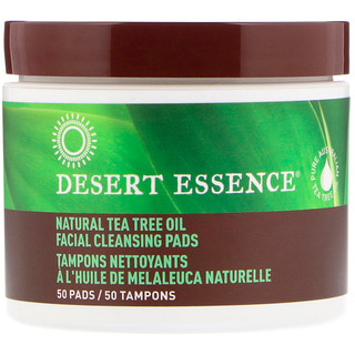 Desert Essence, Natural Tea Tree Oil Facial Cleansing Pads, 50 Pads