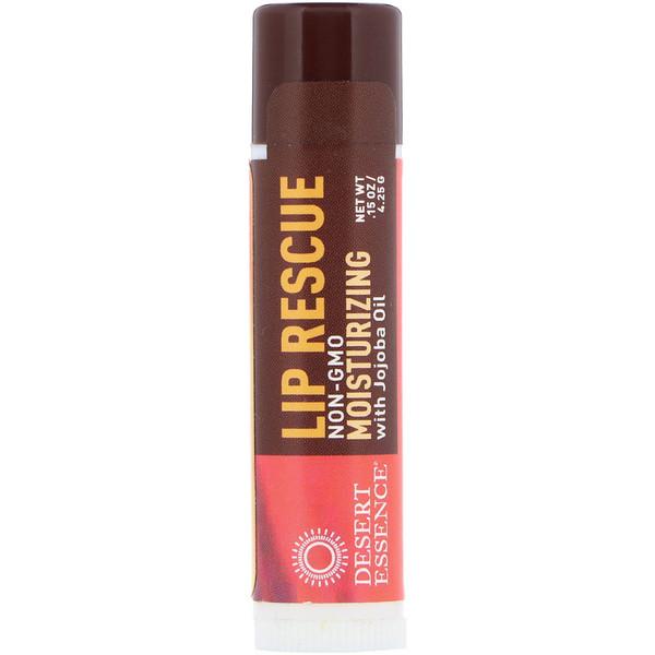 Desert Essence, Lip Rescue, bálsamo para labios humectante con aceite de jojoba, 4,25g (.15oz)