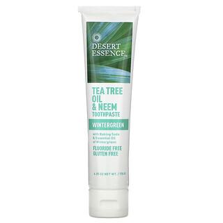 Desert Essence, Tea Tree Oil & Neem Toothpaste, Wintergreen, 6.25 oz (176 g)