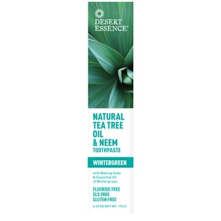 Desert Essence, Natural Tea Tree Oil & Neem Toothpaste, Wintergreen, 6.25 oz (176 g)