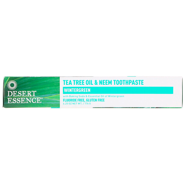 Desert Essence, Dentifrice à l'huile tea tree (arbre à thé) et au margousier, wintergreen, 176 g (6,25 oz)