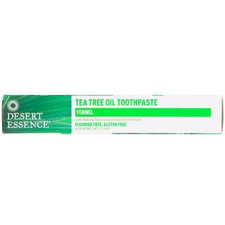 Desert Essence, ティーツリーオイル歯磨き粉、フェンネル、6.25 oz (176 g)