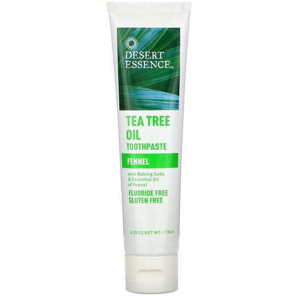 Desert Essence, Pasta dental con aceite de árbol de té, hinojo, 6.25 oz (176 g)