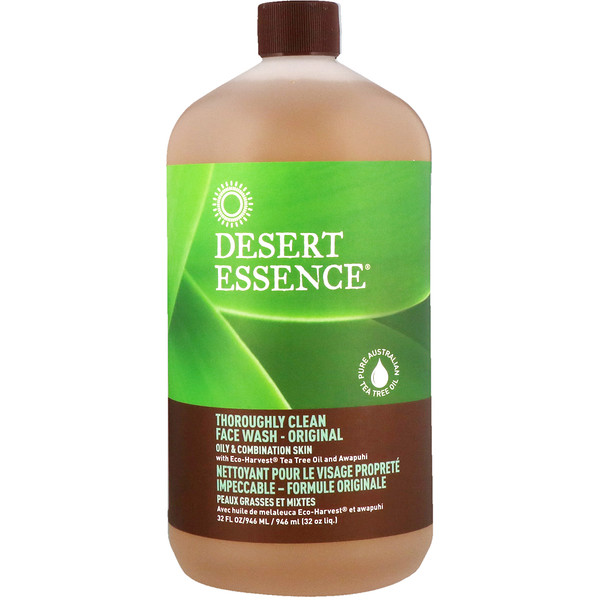 Desert Essence, Thoroughly Clean Face Wash, 32 fl oz (946 ml)