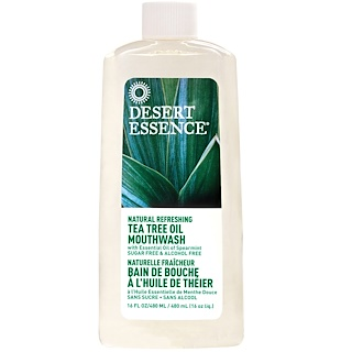 Desert Essence, Natural Refreshing Tea Tree Oil Mouthwash, Alcohol Free, 16 fl oz (480 ml)