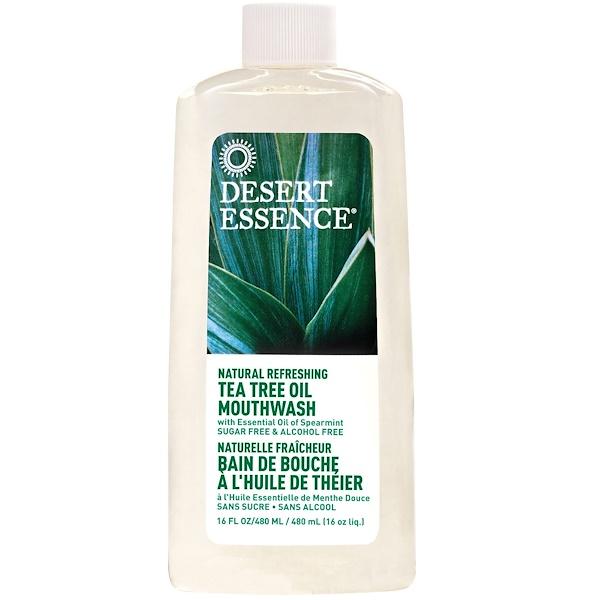 Desert Essence, 天然清新茶樹油漱口水,不含酒精,16盎司(480ml)