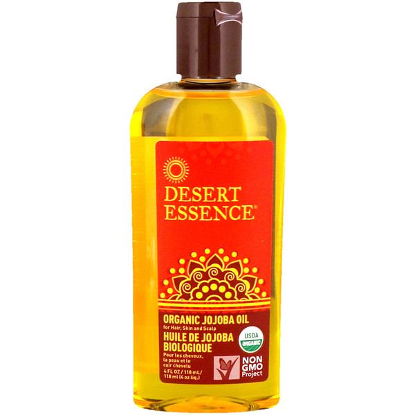 Desert Essence, Organic Jojoba Oil for Hair, Skin & Scalp、4液量オンス (118 ml)