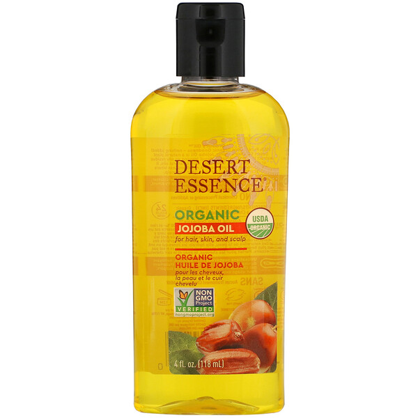 Desert Essence, Organic Jojoba Oil for Hair, Skin and Scalp, 4 fl oz (118 ml)
