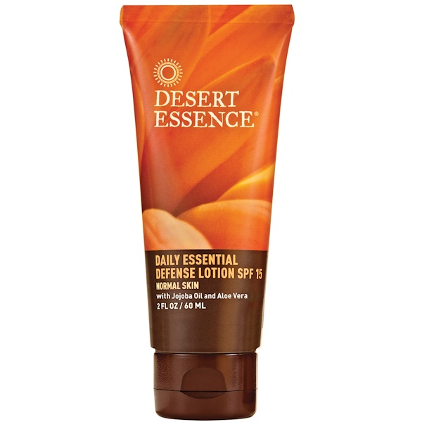 Desert Essence, Daily Essential Defense Lotion, SPF 15, Normal Skin, 2 fl oz (60 ml) (Discontinued Item)