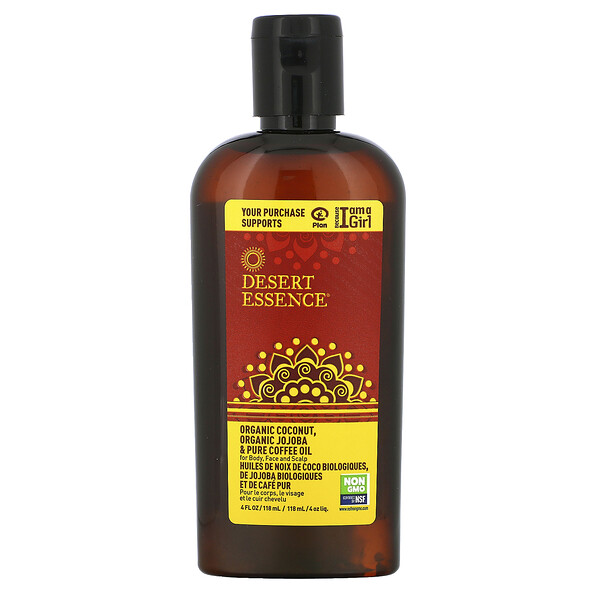 Desert Essence, Organic Coconut, Organic Jojoba & Pure Coffee Oil, 4 fl oz (118 ml)
