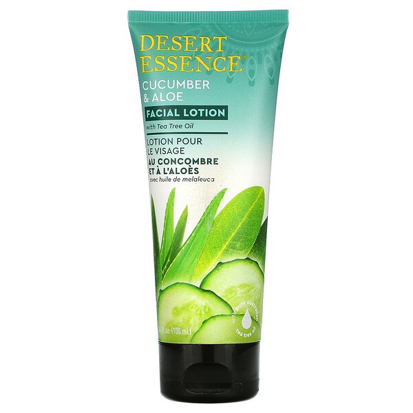 Desert Essence, Facial Lotion, Cucumber & Aloe, 3.4 oz (100 ml)