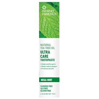 Desert Essence, Natural Tea Tree Oil Ultra Care Toothpaste, Mega Mint, 6.25 oz (176 g)