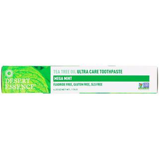 Desert Essence, Crema dental de aceite de árbol de té Ultra Care, Mega menta, 6.25 oz (176 g)