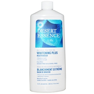 Desert Essence, Whitening Plus Mouthwash, Cool Mint, 16 fl oz (480 ml)