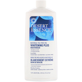 Desert Essence, Enxaguante Whitening Plus, Menta Fresca, 16 fl oz (480 ml)
