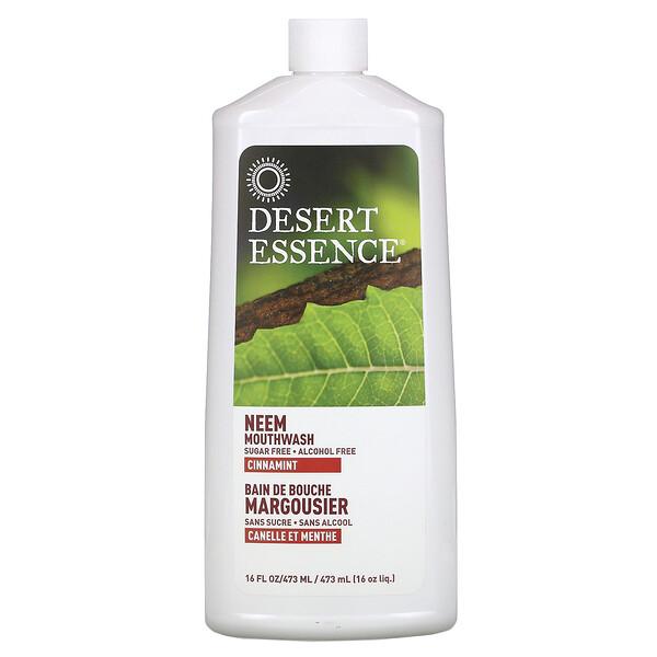 Desert Essence, Enxaguante Bucal com Neem Natural, Canela e Menta, 16 fl oz (480 g)
